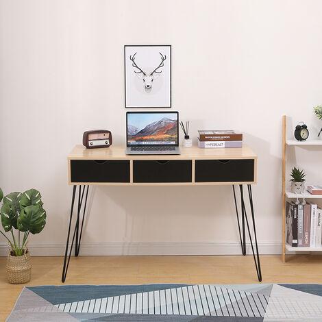 Mesa Escritorio,Escritorio de Ordenador,Mesa para jóvenes Mesa de oficina tocadores con cajones 110x51x75cm