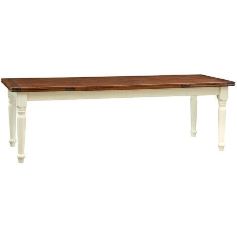 Mesa estilo Country extensible de madera maciza de tilo armazón blanco envejecido cima acabada con efecto nogal 250x100x80 cm
