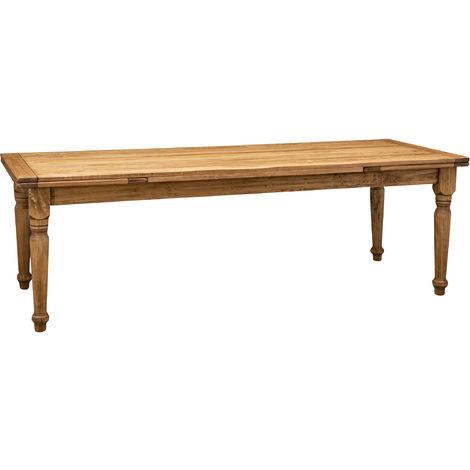 Mesa estilo Country madera maciza de tilo acabado con efecto natural