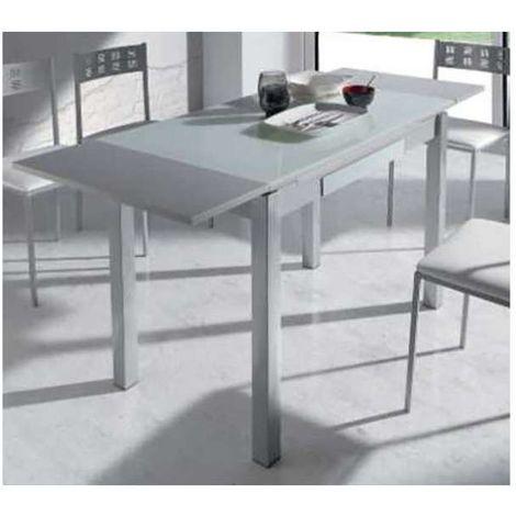 Mesa extensible comedor o cocina con cajon blanca Color Blanco