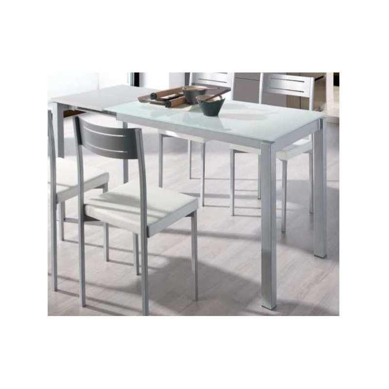Mesa extensible comedor o cocina cristal blanca Color Blanco