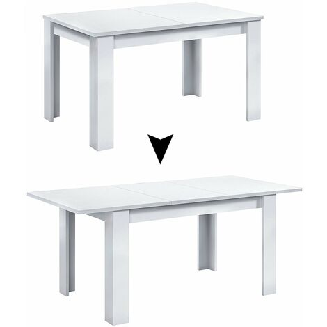 Mesa extensible de 140 a 190 cm Blanco cerrada 90 Ancho x 140/190 Largo 78 cm Altura