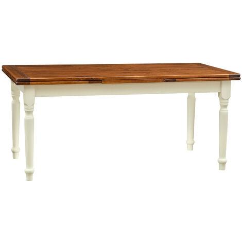 Mesa extensible de estilo Country de madera maciza de tilo armazón blanca envejecida con plan con efecto nogal made in italy