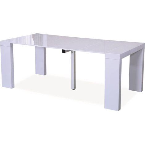 Mesa extensible Dina - 200/40 x 94 x 75 cm - Blanco laqueado