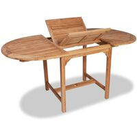 Mesa extensible para jardín de teca (110-160)x80x75cm ovalada