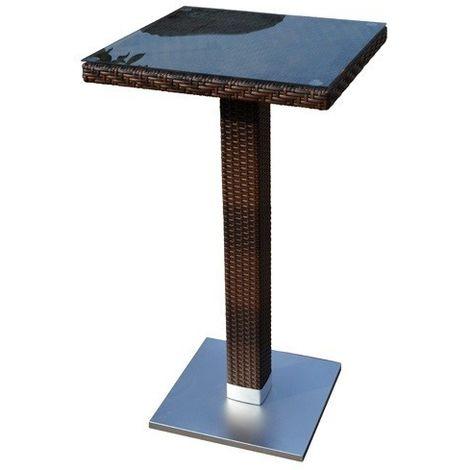 Mesa exterior JARDIN alta, aluminio, ratán chocolate, 60x60 cms