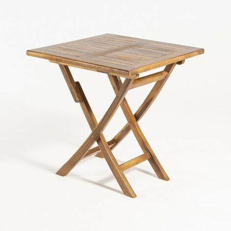 Mesa exterior teca cuadrada 70 cm, Madera teca grado A, Tamaño: 70x70x76 cm, Tratamiento al agua aplicado