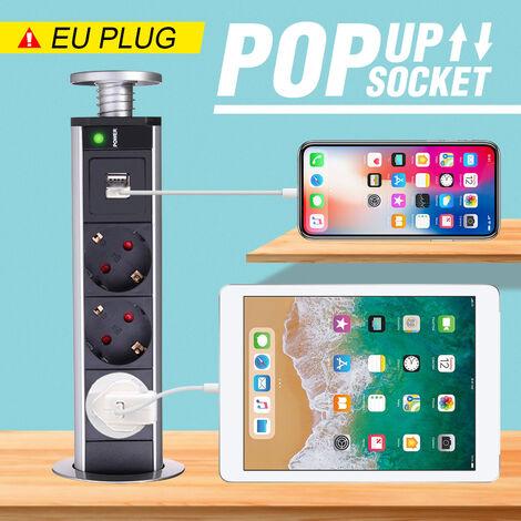 """main image of """"Mesa Extraíble Pop Up Power Enchufe de la UE Cocina oculta 5 salidas Fuente de alimentación 2 USB (UE 5 agujeros con 2USB)"""""""