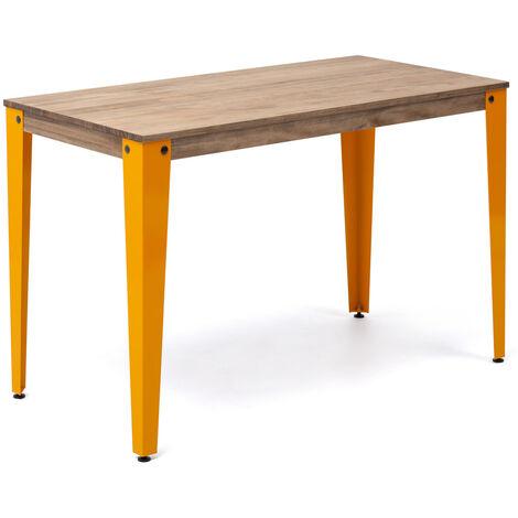Mesa Lunds Estudio 110x70x75cm Amarillo madera efecto vintage estilo industrial Box Furniture - 70X110X75,5 cm - Efecto Vintage - Amarillo