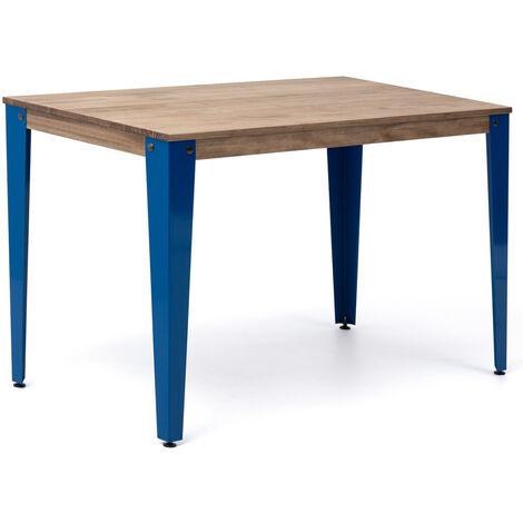 Mesa Lunds Estudio 110x70x75cm Azul madera efecto vintage estilo industrial Box Furniture - 70X110X75,5 cm - Efecto Vintage - Azul
