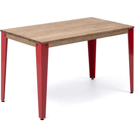 Mesa Lunds Estudio 110x70x75cm Rojo madera efecto vintage estilo industrial Box Furniture - 70X110X75,5 cm - Efecto Vintage - Rojo