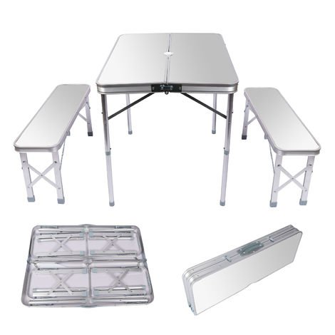 Mesa maleta camping picknick con 2 bancos 90x66x70cm Plegable Aluminio Color plateado Portátil Jardín