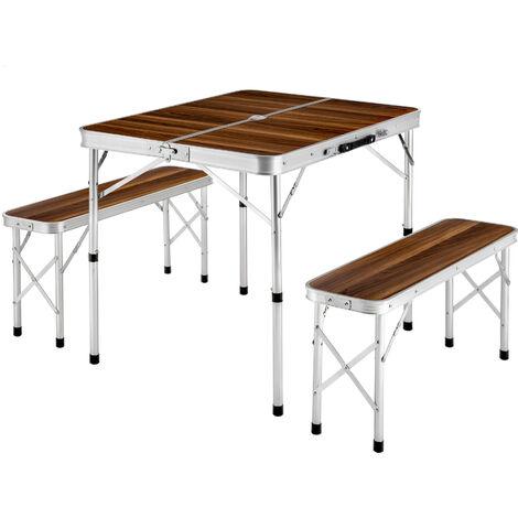 Mesa maleta con 2 asientos - mesa de camping + bancos, mesa y bancos plegables para playa, mesa + bancos portátiles - marrón