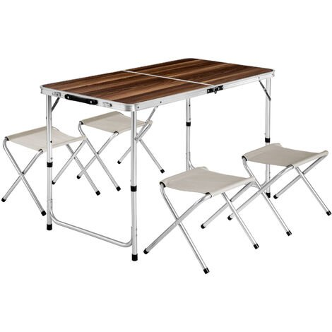 Mesa maleta con 4 taburetes - mesa de camping + taburetes, mesa y bancas plegables para playa, mesa + asientos portátiles - marrón/blanco