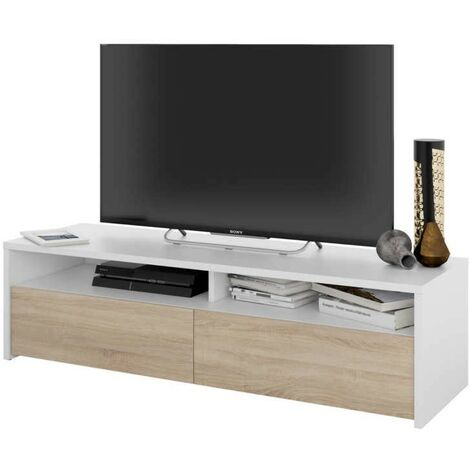 Mesa multimedia para TV estilo minimalista color blanco y roble canadian 36x130x40 cm