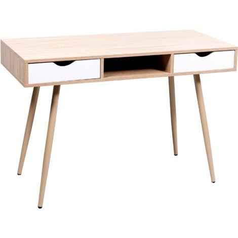 Mesa oficina modelo BERKELEY color haya natural y blanco