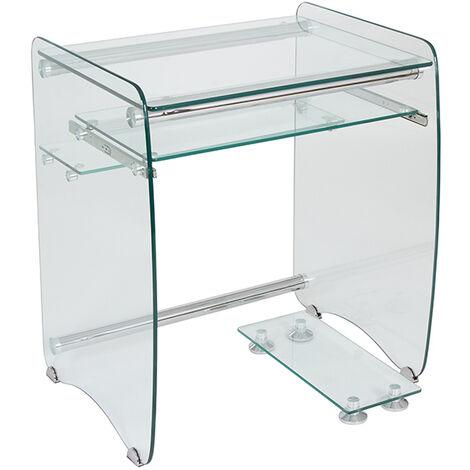 Mesa ordenador cristal y acero cromo. Bandeja deslizable, soporte torre ordenador. Estudio,casa.70X56X80cm