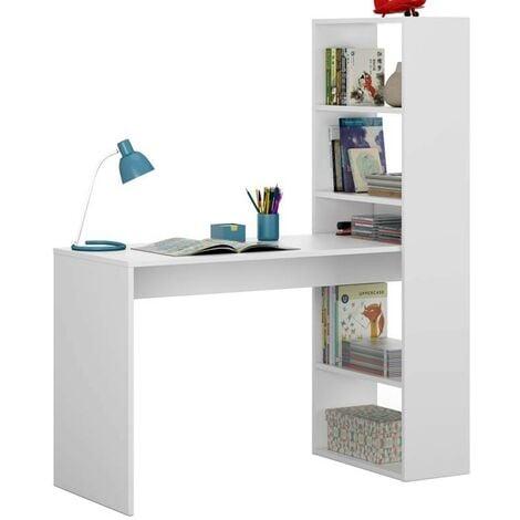 Mesa ordenador escritorio con estanteria incorporada color blanco artik moderna 144x120x53 cm