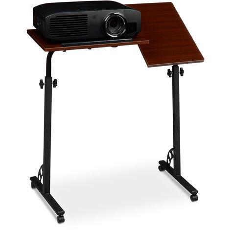 Mesa Ordenador Portátil Grande con Ruedas, Altura Ajustable, DM-Acero, 110x80x50 cm, Marrón Caoba