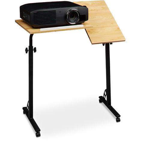 Mesa Ordenador Portátil Grande con Ruedas, Altura Ajustable, DM-Acero, 110x80x50 cm, Marrón Roble