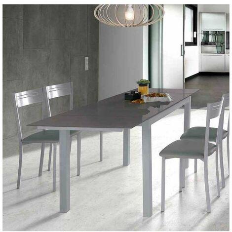 Mesa para cocina extensible cristal varios colores a elegir 76.5 cm(alto) 110/170 cm(ancho)70 cm(fondo).