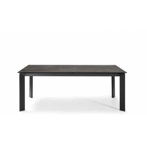 Mesa para comedor o cocina Nieves tapa ceramica/cristal en acabado negro 200 cm(alto)90 cm(ancho)76 cm(largo)