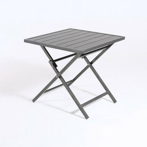 Mesa para exterior plegable cuadrada | Aluminio color antracita | Tamaño: 70x70x71 cm