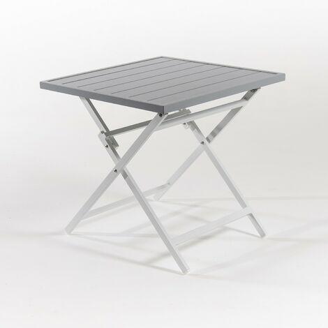Mesa para exterior plegable cuadrada, Aluminio color blanco, Tamaño: 70x70x71 cm
