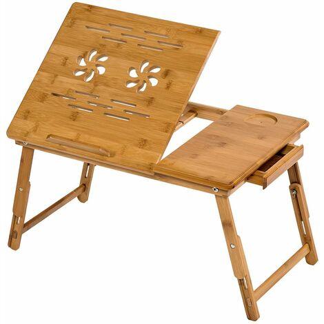 Mesa para portátil de bambú 55x35x26cm ajustable - mesita para portátil de madera, mesa plegable para laptop para cama, mesa abatible para ordenador con patas ajustables - marrón