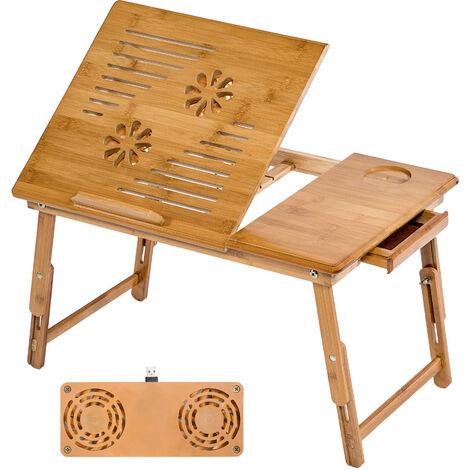 Mesa para portátil de bambú 55x35x26cm ajustable y con puerto USB - mesita para portátil de madera, mesa plegable para laptop para cama, mesa abatible para ordenador con ventilador - marrón