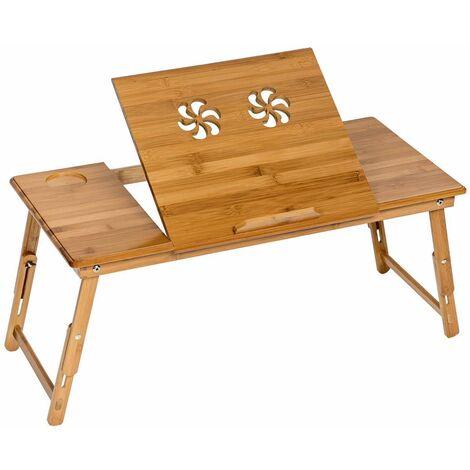 Mesa para portátil de bambú 72x35x26cm ajustable - mesita para portátil de madera, mesa plegable para laptop para cama, mesa abatible para ordenador con patas ajustables - marrón