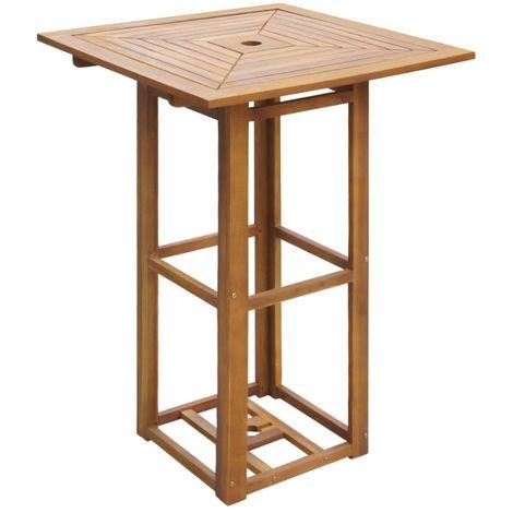 Mesa para terraza bistro madera maciza de acacia 75x75x110 cm