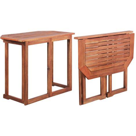 Mesa para terraza bistro madera maciza de acacia 90x50x75 cm