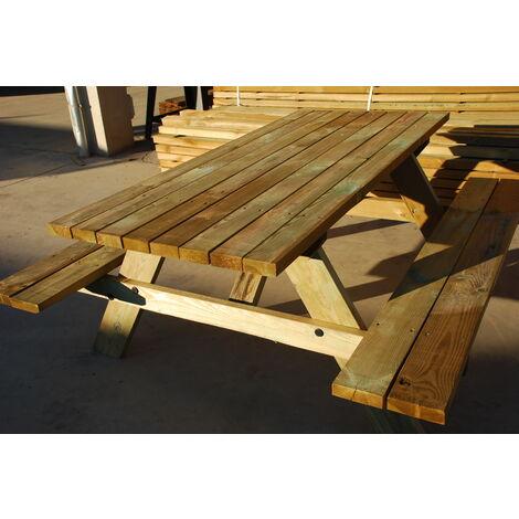 Mesa picnic de madera tratada de 180x80cm.