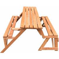 Mesa Picnic Summer de madera convertible en banco - KNH1115 - Gardiun