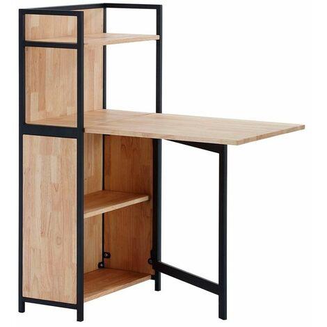 Mesa plegable con estantería ShelfRoble salvaje-negro