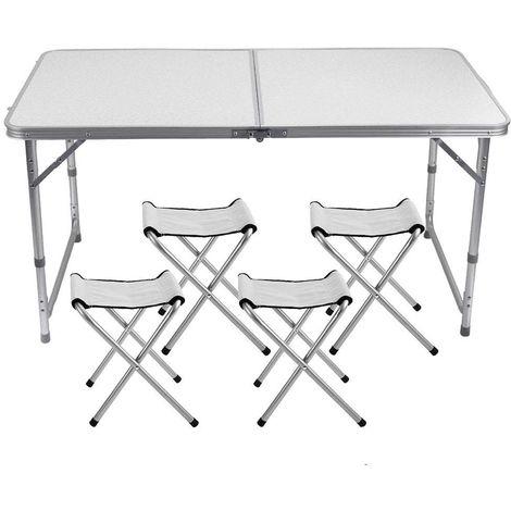 Mesa plegable de aluminio FUBUCA para camping con taburetes 120x60x70cm