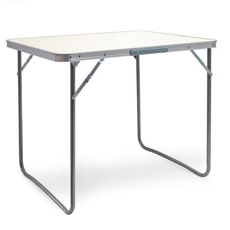 Mesa plegable de aluminio para camping Tablero MDF blanco 80x60cm Outdoor Picnic Acampada Vacaciones