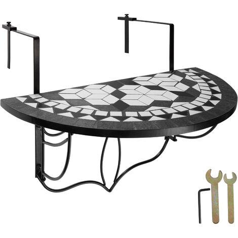 Mesa plegable de balcón para macetas mosaico - mesa colgante de acero, mesa elegante para terraza con anclajes metálicos, mueble de exterior con decorado de mosaico