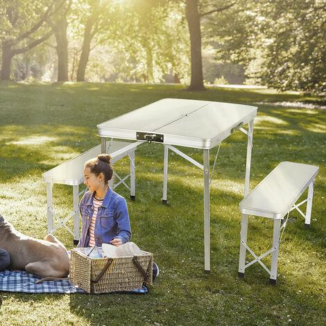 Mesa plegable de camping con 2 bancos de aluminio incl. Mesa de camping 90x60x70cm, mesa de exterior, mesa de camping plegable| Mesa maleta camping picnic