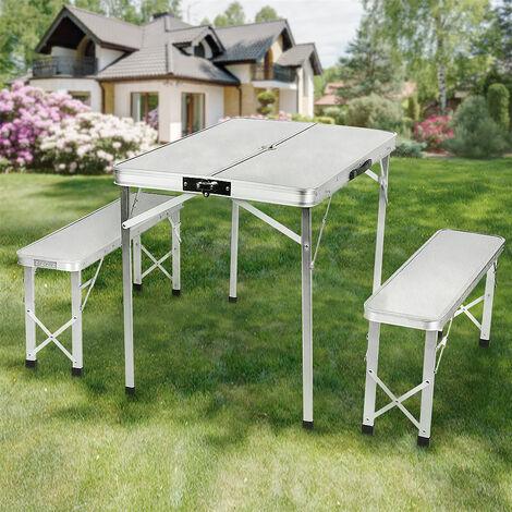 Mesa plegable de camping con 2 bancos de aluminio - mesa de exterior, mesa de camping plegable,90x60x70cm
