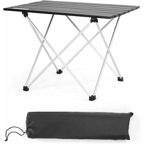 Mesa Plegable de Camping de Aluminio Mesa de Picnic con Bolsa de Transporte para Jardín Exterior Barbacoa