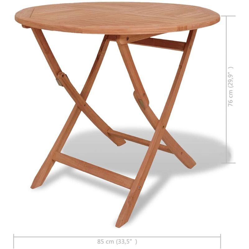 Mesa plegable de comedor de jardín teca maciza 85x76 cm redonda