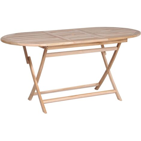 Mesa plegable de jardín madera de teca maciza 160x80x75 cm