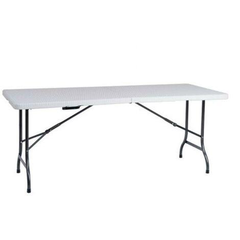 Mesa plegable easy rattan blanca 180 cm