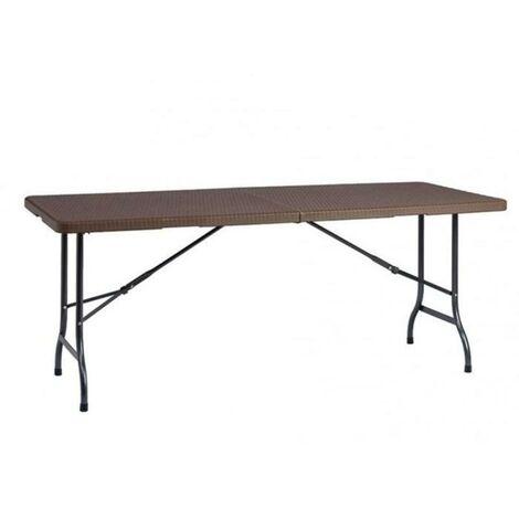 Mesa plegable easy rattan marron 180 cm