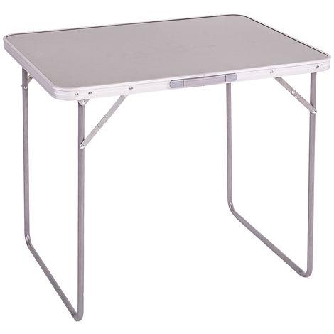 Mesa plegable hierro / madera gris-bco. 120 x 60 x 70 cm 80 x 60 x 70 cm