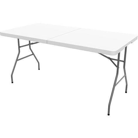 Mesa Plegable Portátil, Mesa de Plástico Resistente, 152 x 71.5 cm, Blanco, Plegable por la mitad, Material: HDPE