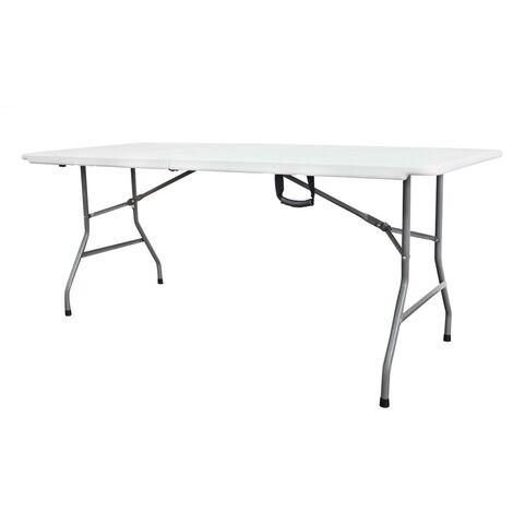 Mesa Plegable Portátil, Mesa de Plástico Resistente, 180 x 74 cm, Blanco, Plegable por la mitad, Material: HDPE