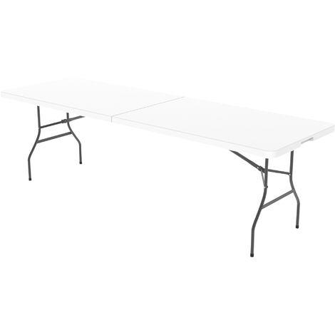 Mesa Plegable Portátil, Mesa de Plástico Resistente, 240 x 76 cm, Blanco, Plegable por la mitad, Material: HDPE